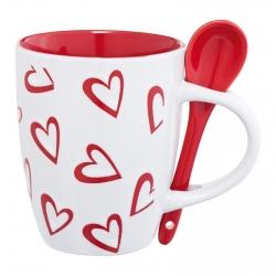 Srčkasta skodelica z žličko za belo kavo