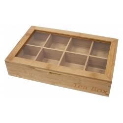 Velika lesena škatla za čaj s steklenim pokrovom